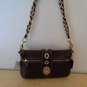 Coach Legacy Leather Turnlock Chain Clutch Handbag